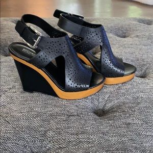 Michael lord black leather wedges
